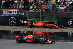 HOCKENHEIM, GERMANY - JULY 28: Max Verstappen of the Netherlands driving the (33) Aston Martin Red Bull Racing RB15 passes as Charles Leclerc of Monaco driving the (16) Scuderia Ferrari SF90 crashes during the F1 Grand Prix of Germany at Hockenheimring on July 28, 2019 in Hockenheim, Germany. (Photo by Dan Mullan/Getty Images) // Getty Images / Red Bull Content Pool  // AP-2139U6N852111 // Usage for editorial use only // Please go to www.redbullcontentpool.com for further information. //