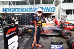 HOCKENHEIM, GERMANY - JULY 28: Race winner Max Verstappen of Netherlands and Red Bull Racing celebrates in parc ferme during the F1 Grand Prix of Germany at Hockenheimring on July 28, 2019 in Hockenheim, Germany. (Photo by Mark Thompson/Getty Images) // Getty Images / Red Bull Content Pool  // AP-213AP79W52111 // Usage for editorial use only // Please go to www.redbullcontentpool.com for further information. //
