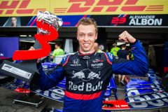 HOCKENHEIM, GERMANY - JULY 28: Daniil Kvyat of Scuderia Toro Rosso and Russia celebrating  finishing 3rd during the F1 Grand Prix of Germany at Hockenheimring on July 28, 2019 in Hockenheim, Germany. (Photo by Peter Fox/Getty Images) // Getty Images / Red Bull Content Pool  // AP-213AV64612111 // Usage for editorial use only // Please go to www.redbullcontentpool.com for further information. //