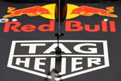BUDAPEST, HUNGARY - JULY 28: TAG Heuer branding on the nose of the Red Bull Racing RB13 during practice for the Formula One Grand Prix of Hungary at Hungaroring on July 28, 2017 in Budapest, Hungary. (Photo by Mark Thompson/Getty Images) // Getty Images / Red Bull Content Pool // P-20170729-00209 // Usage for editorial use only // Please go to www.redbullcontentpool.com for further information. //