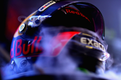 BUDAPEST, HUNGARY - JULY 27: Cooling smoke pours from the helmet of Max Verstappen of Netherlands and Red Bull Racing in the garage during practice for the Formula One Grand Prix of Hungary at Hungaroring on July 27, 2018 in Budapest, Hungary.  (Photo by Dan Istitene/Getty Images) // Getty Images / Red Bull Content Pool  // AP-1WDEKK2N92511 // Usage for editorial use only // Please go to www.redbullcontentpool.com for further information. //