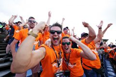 BUDAPEST, HUNGARY - AUGUST 03: Max Verstappen of Netherlands and Red Bull Racing fans celebrate during qualifying for the F1 Grand Prix of Hungary at Hungaroring on August 03, 2019 in Budapest, Hungary. (Photo by Peter Fox/Getty Images) *** BESTPIX *** // Getty Images / Red Bull Content Pool  // AP-2159Z8Y9W2111 // Usage for editorial use only // Please go to www.redbullcontentpool.com for further information. //