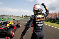BUDAPEST, HUNGARY - AUGUST 03: Pole position qualifier Max Verstappen of Netherlands and Red Bull Racing celebrates in parc ferme during qualifying for the F1 Grand Prix of Hungary at Hungaroring on August 03, 2019 in Budapest, Hungary. (Photo by Getty Images/Getty Images) // Getty Images / Red Bull Content Pool  // AP-21599CMNS2111 // Usage for editorial use only // Please go to www.redbullcontentpool.com for further information. //