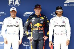 BUDAPEST, HUNGARY - AUGUST 03: Top three qualifiers Max Verstappen of Netherlands and Red Bull Racing, Valtteri Bottas of Finland and Mercedes GP and Lewis Hamilton of Great Britain and Mercedes GP celebrate in parc ferme during qualifying for the F1 Grand Prix of Hungary at Hungaroring on August 03, 2019 in Budapest, Hungary. (Photo by Will Taylor-Medhurst/Getty Images) // Getty Images / Red Bull Content Pool  // AP-2157MR1952111 // Usage for editorial use only // Please go to www.redbullcontentpool.com for further information. //