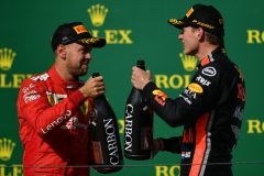 BUDAPEST, HUNGARY - AUGUST 04: Second placed Max Verstappen of Netherlands and Red Bull Racing and third placed Sebastian Vettel of Germany and Ferrari celebrate on the podium during the F1 Grand Prix of Hungary at Hungaroring on August 04, 2019 in Budapest, Hungary. (Photo by Dan Mullan/Getty Images) // Getty Images / Red Bull Content Pool  // AP-215KDXSGH1W11 // Usage for editorial use only // Please go to www.redbullcontentpool.com for further information. //