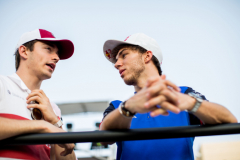 BAHRAIN, BAHRAIN - APRIL 08:  Charles Leclerc of Alfa Romeo Sauber and France with Pierre Gasly of Scuderia Toro Rosso and France during the Bahrain Formula One Grand Prix at Bahrain International Circuit on April 8, 2018 in Bahrain, Bahrain.  (Photo by Peter Fox/Getty Images) // Getty Images / Red Bull Content Pool  // AP-1VA36WG711W11 // Usage for editorial use only // Please go to www.redbullcontentpool.com for further information. //