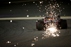 BAHRAIN, BAHRAIN - MARCH 29: Sparks fly behind Max Verstappen of the Netherlands driving the (33) Aston Martin Red Bull Racing RB15 on track during practice for the F1 Grand Prix of Bahrain at Bahrain International Circuit on March 29, 2019 in Bahrain, Bahrain. (Photo by Charles Coates/Getty Images) // Getty Images / Red Bull Content Pool  // AP-1YVCBJ2JN2111 // Usage for editorial use only // Please go to www.redbullcontentpool.com for further information. //