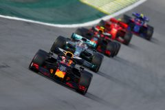 SAO PAULO, BRAZIL - NOVEMBER 17: Max Verstappen of the Netherlands driving the (33) Aston Martin Red Bull Racing RB15 leads Lewis Hamilton of Great Britain driving the (44) Mercedes AMG Petronas F1 Team Mercedes W10 during the F1 Grand Prix of Brazil at Autodromo Jose Carlos Pace on November 17, 2019 in Sao Paulo, Brazil. (Photo by Dan Istitene/Getty Images)