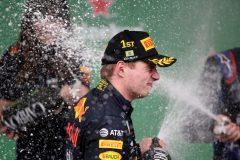 SAO PAULO, BRAZIL - NOVEMBER 17: Race winner Max Verstappen of Netherlands and Red Bull Racing celebrates on the podium during the F1 Grand Prix of Brazil at Autodromo Jose Carlos Pace on November 17, 2019 in Sao Paulo, Brazil. (Photo by Charles Coates/Getty Images)