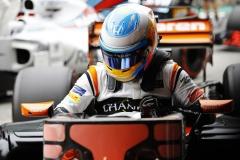 Interlagos, Sao Paulo, Brazil.Saturday 11 November 2017.Fernando Alonso, McLaren, in Parc Ferme after Qualifying.Photo: Steven Tee/McLarenref: Digital Image _R3I9617