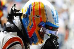 Interlagos, Sao Paulo, Brazil.Saturday 11 November 2017.Fernando Alonso, McLaren, in Parc Ferme after Qualifying.Photo: Steven Tee/McLarenref: Digital Image _R3I9626