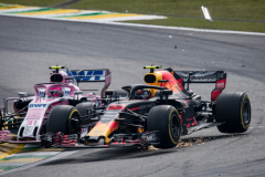 SAO PAULO, BRAZIL - NOVEMBER 11:  Max Verstappen of the Netherlands driving the (33) Aston Martin Red Bull Racing RB14 TAG Heuer is crashed into by Esteban Ocon of France driving the (31) Sahara Force India F1 Team VJM11 Mercedes on track during the Formula One Grand Prix of Brazil at Autodromo Jose Carlos Pace on November 11, 2018 in Sao Paulo, Brazil.  (Photo by Lars Baron/Getty Images) // Getty Images / Red Bull Content Pool  // AP-1XFYXUEYW1W11 // Usage for editorial use only // Please go to www.redbullcontentpool.com for further information. //