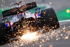 SAO PAULO, BRAZIL - NOVEMBER 16: Sparks fly behind Daniil Kvyat driving the (26) Scuderia Toro Rosso STR14 Honda on track during final practice for the F1 Grand Prix of Brazil at Autodromo Jose Carlos Pace on November 16, 2019 in Sao Paulo, Brazil. (Photo by Dan Istitene/Getty Images) // Getty Images / Red Bull Content Pool  // AP-2273Y7V151W11 // Usage for editorial use only //