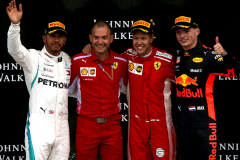 SPA, BELGIUM - AUGUST 26:  Top three finisher Sebastian Vettel of Germany and Ferrari, Lewis Hamilton of Great Britain and Mercedes GP and Max Verstappen of Netherlands and Red Bull Racing celebrate on the podium during the Formula One Grand Prix of Belgium at Circuit de Spa-Francorchamps on August 26, 2018 in Spa, Belgium.  (Photo by Charles Coates/Getty Images) // Getty Images / Red Bull Content Pool  // AP-1WQ63QRKD2111 // Usage for editorial use only // Please go to www.redbullcontentpool.com for further information. //
