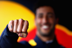 SPA, BELGIUM - AUGUST 26:  A detail image of the number 3 tattoo on the finger of Daniel Ricciardo of Australia and Red Bull Racing before the Formula One Grand Prix of Belgium at Circuit de Spa-Francorchamps on August 26, 2018 in Spa, Belgium.  (Photo by Mark Thompson/Getty Images) // Getty Images / Red Bull Content Pool  // AP-1WQ4A1ZDS1W11 // Usage for editorial use only // Please go to www.redbullcontentpool.com for further information. //