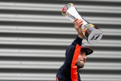 SPA, BELGIUM - AUGUST 27: Daniel Ricciardo of Australia and Red Bull Racing celebrates finishing in third place on the podium during the Formula One Grand Prix of Belgium at Circuit de Spa-Francorchamps on August 27, 2017 in Spa, Belgium. (Photo by Mark Thompson/Getty Images) // Getty Images / Red Bull Content Pool // P-20170827-10092 // Usage for editorial use only // Please go to www.redbullcontentpool.com for further information. //