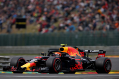 SPA, BELGIUM - AUGUST 24: Max Verstappen of the Netherlands driving the (33) Aston Martin Red Bull Racing RB14 TAG Heuer on track during practice for the Formula One Grand Prix of Belgium at Circuit de Spa-Francorchamps on August 24, 2018 in Spa, Belgium.  (Photo by Charles Coates/Getty Images) // Getty Images / Red Bull Content Pool  // AP-1WPHXR1UH2111 // Usage for editorial use only // Please go to www.redbullcontentpool.com for further information. //