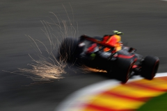 SPA, BELGIUM - AUGUST 25: Sparks fly behind Max Verstappen of the Netherlands driving the (33) Red Bull Racing Red Bull-TAG Heuer RB13 TAG Heuer on track during practice for the Formula One Grand Prix of Belgium at Circuit de Spa-Francorchamps on August 25, 2017 in Spa, Belgium. (Photo by Mark Thompson/Getty Images) // Getty Images / Red Bull Content Pool // P-20170825-01845 // Usage for editorial use only // Please go to www.redbullcontentpool.com for further information. //