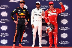 KUALA LUMPUR, MALAYSIA - SEPTEMBER 30: Top three qualifiers Lewis Hamilton of Great Britain and Mercedes GP, Kimi Raikkonen of Finland and Ferrari and Max Verstappen of Netherlands and Red Bull Racing in parc ferme during qualifying for the Malaysia Formula One Grand Prix at Sepang Circuit on September 30, 2017 in Kuala Lumpur, Malaysia. (Photo by Mark Thompson/Getty Images) // Getty Images / Red Bull Content Pool // P-20170930-00394 // Usage for editorial use only // Please go to www.redbullcontentpool.com for further information. //