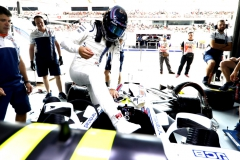 Sepang International Circuit, Sepang, Malaysia.Saturday 30 September 2017.Lance Stroll, Williams Martini Racing, climbs in to his car.Photo: Glenn Dunbar/Williamsref: Digital Image _X4I0319