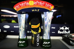 MEXICO CITY, MEXICO - OCTOBER 29: The race winners trophy of Max Verstappen of Netherlands and Red Bull Racing in the Red Bull Racing garage after the Formula One Grand Prix of Mexico at Autodromo Hermanos Rodriguez on October 29, 2017 in Mexico City, Mexico. (Photo by Mark Thompson/Getty Images) // Getty Images / Red Bull Content Pool // P-20171029-01329 // Usage for editorial use only // Please go to www.redbullcontentpool.com for further information. //