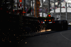 MONTE-CARLO, MONACO - MAY 26: Sparks fly behind Max Verstappen of the Netherlands driving the (33) Aston Martin Red Bull Racing RB14 TAG Heuer on track during final practice for the Monaco Formula One Grand Prix at Circuit de Monaco on May 26, 2018 in Monte-Carlo, Monaco.  (Photo by Dan Mullan/Getty Images) // Getty Images / Red Bull Content Pool  // AP-1VSG3KKW91W11 // Usage for editorial use only // Please go to www.redbullcontentpool.com for further information. //