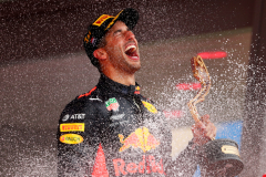MONTE-CARLO, MONACO - MAY 27:  Race winner Daniel Ricciardo of Australia and Red Bull Racing celebrates on the podium during the Monaco Formula One Grand Prix at Circuit de Monaco on May 27, 2018 in Monte-Carlo, Monaco.  (Photo by Dan Istitene/Getty Images) // Getty Images / Red Bull Content Pool  // AP-1VSWE9GPS1W11 // Usage for editorial use only // Please go to www.redbullcontentpool.com for further information. //