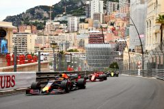 MONTE-CARLO, MONACO - MAY 26: Max Verstappen of the Netherlands driving the (33) Aston Martin Red Bull Racing RB15 leads Sebastian Vettel of Germany driving the (5) Scuderia Ferrari SF90 on track during the F1 Grand Prix of Monaco at Circuit de Monaco on May 26, 2019 in Monte-Carlo, Monaco. (Photo by Dan Istitene/Getty Images) // Getty Images / Red Bull Content Pool  // AP-1ZEZPTHZ11W11 // Usage for editorial use only // Please go to www.redbullcontentpool.com for further information. //