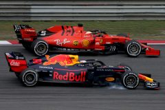 SHANGHAI, CHINA - APRIL 14: Sebastian Vettel of Germany driving the (5) Scuderia Ferrari SF90 and Max Verstappen of the Netherlands driving the (33) Aston Martin Red Bull Racing RB15 on track during the F1 Grand Prix of China at Shanghai International Circuit on April 14, 2019 in Shanghai, China. (Photo by Charles Coates/Getty Images) // Getty Images / Red Bull Content Pool  // AP-1Z1F4WAA52111 // Usage for editorial use only // Please go to www.redbullcontentpool.com for further information. //
