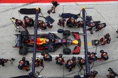 SHANGHAI, CHINA - APRIL 14: Pierre Gasly of France driving the (10) Aston Martin Red Bull Racing RB15 makes a pitstop for new tyres during the F1 Grand Prix of China at Shanghai International Circuit on April 14, 2019 in Shanghai, China. (Photo by Mark Thompson/Getty Images) // Getty Images / Red Bull Content Pool  // AP-1Z1EYDEZD2111 // Usage for editorial use only // Please go to www.redbullcontentpool.com for further information. //