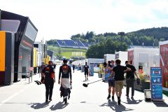 SPIELBERG, AUSTRIA - JULY 05: Alexander Albon of Thailand and Red Bull Racing talks to the media in the Paddock after the Formula One Grand Prix of Austria at Red Bull Ring on July 05, 2020 in Spielberg, Austria. (Photo by Getty Images/Getty Images) // Getty Images / Red Bull Content Pool  // AP-24HS12AA11W11 // Usage for editorial use only //
